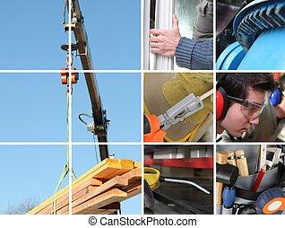 collage, i, en, konstruktion site, og, bygge materials