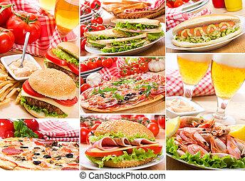 collage, i, forskellige, hurtig mad, produkter