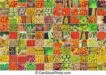 collage, i, fotografier, i, grønsager, og, frugter