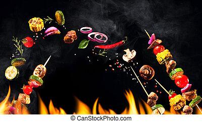 collage, i, grillere kød, spydde, og, grønsager