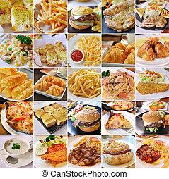 collage, i, hurtig mad, produkter
