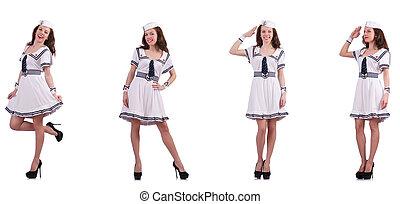 collage, i, kvinde, sømand, isoleret, på hvide