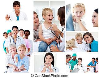 collage, i, medicinsk, situationer