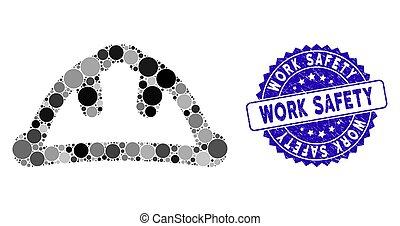 collage, icône, casque sûreté, travail, gratté, cachet