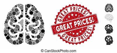 collage, icône, grand, cachet, cerveau, prices!, grunge
