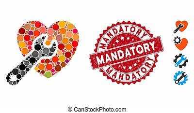 collage, icône, mandatory, textured, réparation, coeur, timbre