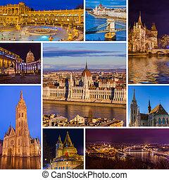 collage, imágenes, budapest, viaje, hungría
