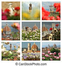 collage, imágenes, florencia, floral