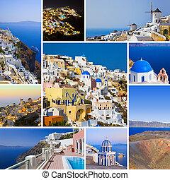 collage, imágenes, (greece), santorini