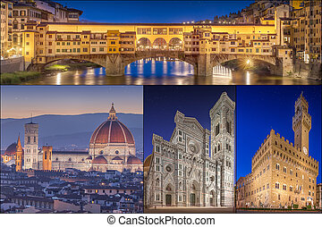 collage, imágenes, italia, florencia