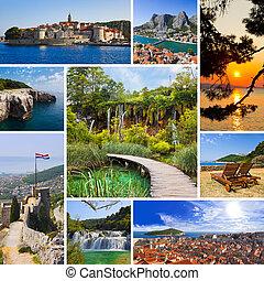 collage, imágenes, viaje, croacia