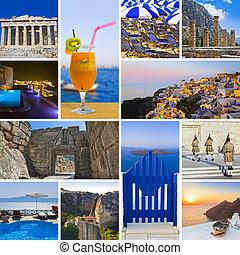 collage, imágenes, viaje, grecia