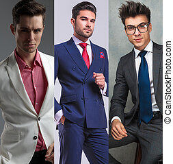 Collage image of three different fashion men portraits