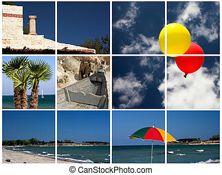collage, images, plage