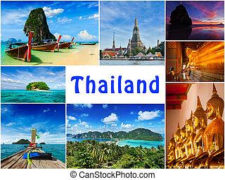 collage, images, thaïlande