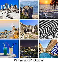 collage, images, voyage, grèce