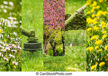 collage images work in garden and lawn with gasoline trimmer...