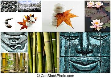 collage, immagine, zen, come