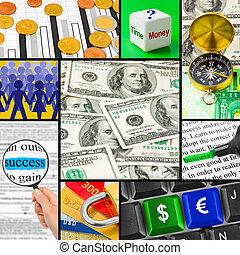 collage, immagini, affari