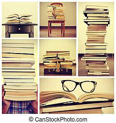 collage, immagini, libri