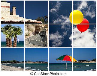 collage, immagini, spiaggia