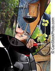 collage, Immagini, vino