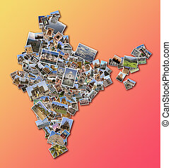 collage India map with collection of famous places photos
