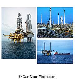 collage, industria, olio, gas