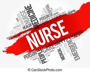collage, infirmière, mot, nuage