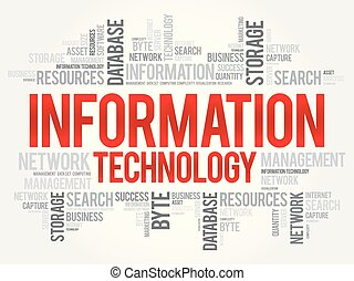 collage, information, mot, technologie, nuage