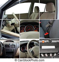collage, inre, detaljerna, bil