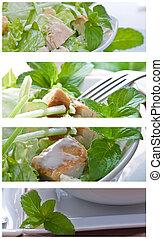 collage, insalata caesar