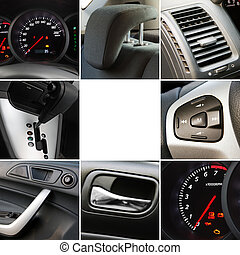 collage, intérieur, détails, voiture