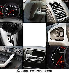 collage, interior, detalles, coche