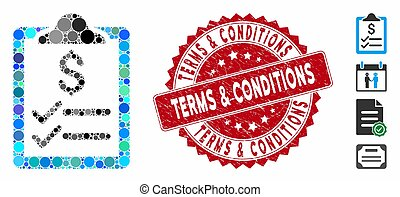 Collage Invoice Pad Icon with Distress Terms & Conditions Seal