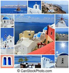 collage, isla de santorini, grecia