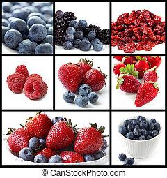 collage, jagoda, owoce