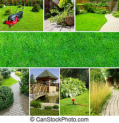 collage, jardin