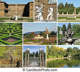 collage, jardines, boboli