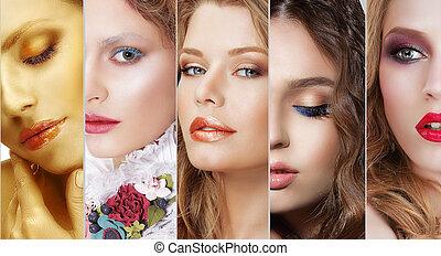 collage., jogo, de, mulheres, caras, com, vário, coloridos, maquilagem