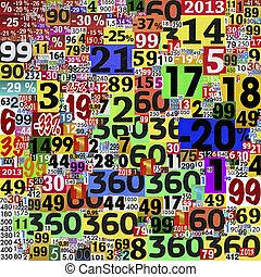 collage, journal, fait, clippings., nombres