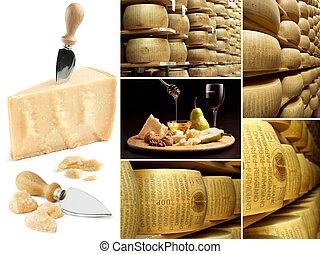 collage, kaas, parmesan
