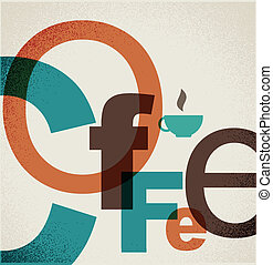 collage, kaffe, poster., letters.