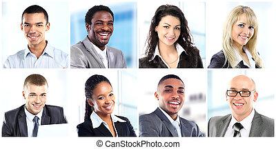 collage, kantoor, werkende , zakenlui
