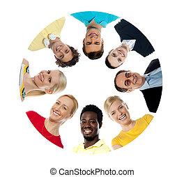 collage, koło, diversified, mający kształt, ludzie