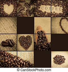 collage, koffie bonen