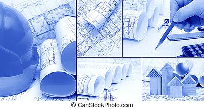 collage, konstruktion, begreb, -, blueprints