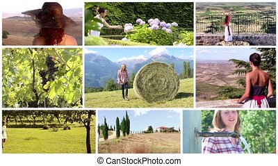 collage, kraj, rozmaity, kobiety