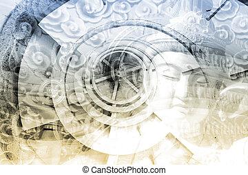 collage, kultur, asia