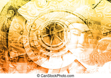 collage, kultura, azja
